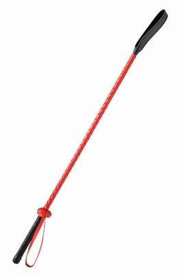 Lederen paardrij zweep met rode body en lange flap, 70 cm