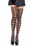Panty met geweefd zigzag patroon / contrast woven pantyhose